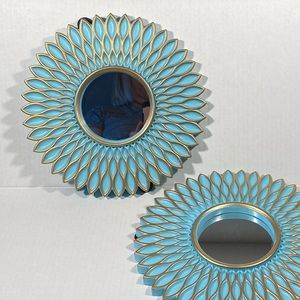 Retro mirrors turquoise vintage floral flowers